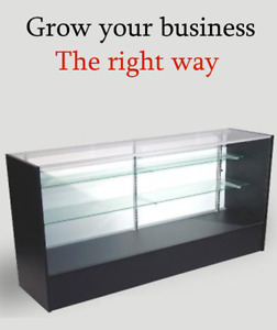 Retail Glass Display Case Full Vision 6ft Showcase 4 Color Options