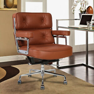 Office Chair Sliding Wheel Chair Lift Chair Genuine Leather Alloy Brown