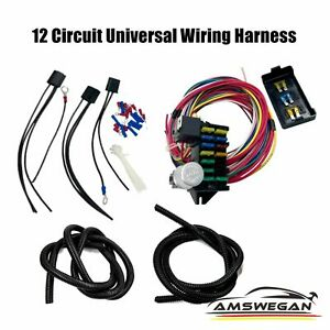 Universal 12 Circuit With 15 Fuse Taps Wiring Harness Hot Street Rods Classic Cars Fits Ford Prefect