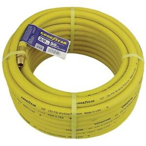 3 8 X50 Goodyear Heavy Duty Rubber Air Hose 250 Psi Made In Usa 5214 00