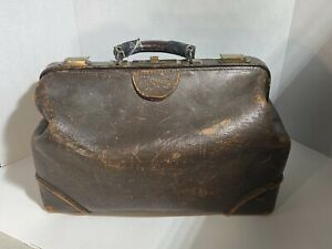 Vintage Leather Case Doctors Bag Used For House Calls Brown W Yellow Inside