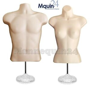 Male Female Mannequin Torsos Flesh 2 Acrylic Stands 2 Hanging Hooks