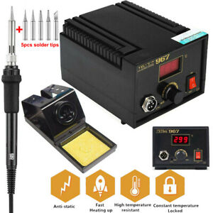 967 Esd Safe Electric Soldering Iron Station Rework Smd Welding Kit Lcd Display