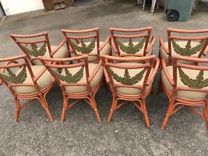 Vintage Hawaiian Rattan Bamboo Chairs 8 Palm Leaf Bentwood Retro Arms Asian Mod
