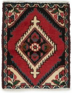 Tribal Design Hand Knotted Tiny Red 1x2 Vintage Small Rug Oriental Wool Carpet