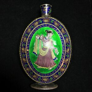 Antique Indian Enamel Cloisonn Sterling Silver Perfume Bottle Flask