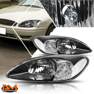 For 00 07 Ford Taurus Direct Replacement Headlight Lamp Black Housing Clear Side