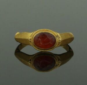 Ancient Roman Gold Intaglio Ring With Capricorn Trident 2nd Century Ad
