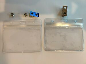 Id Card Holder Clear Plastic Badge Resealable Waterproof With Metal Clip 2 Pack
