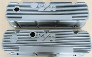 M T 140r 48b Valve Cover Early Bb Chevy W Logo Painter Silver Finned Pair