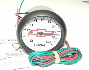 Autometer Chevy Bow Tie Tachometer 0 10 000 3 3 8 Dia White Face New