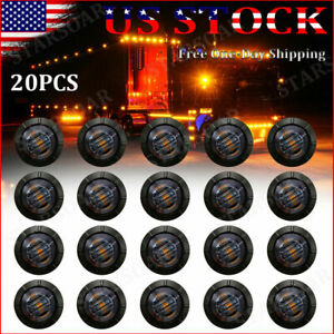 20x Amber Mini 3 4 Round Marker Lights Truck Trailer Clearance Led Bullet Light