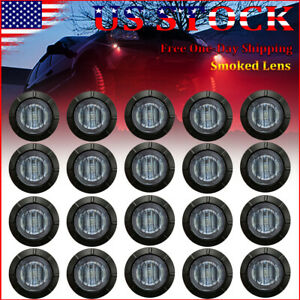 20x Red Round 3 4 Round Marker Lights Truck Trailer Clearance Led Bullet Light