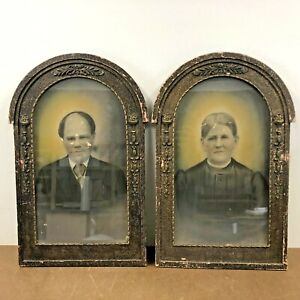 Vintage Victorian Photograph Pair Husband Wife Wood Gesso Picture Frame Antique