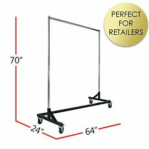 Rolling Clothing Garment Z Rack Osha Approved Heavy Duty 400 Pounds blk