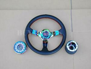 Neo Chrome Steering Wheel Hub Adapter Quick Release Kit For Toyota Corolla 84 14