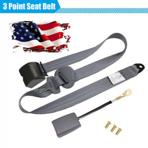 Us Shipping 3 Point Style Retractable Car Safety Seat Belt Lap Shoulder Gray 1pc