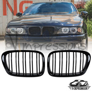 Gloss Black Front Kidney Grill Dual Slat Grille Bumper For Bmw E39 1997 2003 Lci