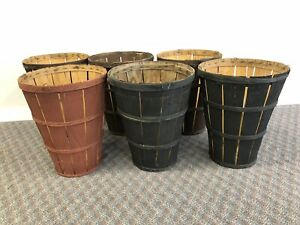 6 Vintage Splint Wood Gathering Basket Lot Primitive Antique Apple Tall Stacking