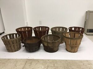 8 Vintage Splint Wood Gathering Basket Lot Primitive Antique Peach Wooden Bushel