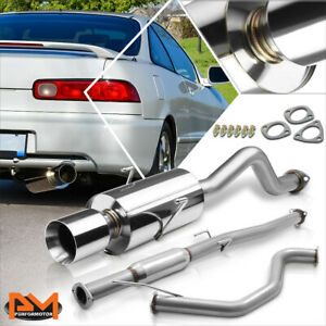 For 94 01 Acura Integra Gs ls rs 4 rolled Tip Muffler S s Racing Catback Exhaust