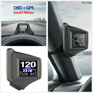 Car Windshield Head Up Display Obd Gps 2 In 1 Dual Working System Speedometer