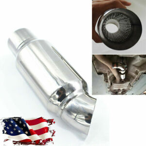 Us Shipping 2 Car Modified Round Exhaust Pipe Muffler Chrome Stainless Steel