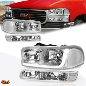 For 99 07 Gmc Sierra yukon Led Drl Headlight W bumper Signal Lamps Chrome Clear