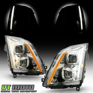2008 2014 Cadillac Cts Halogen Chrome Led Switchback Signal Projector Headlights