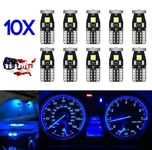 10x T10 W5w 168 194 2825 Led Bulbs 3030 3smd Led Interior Light Blue