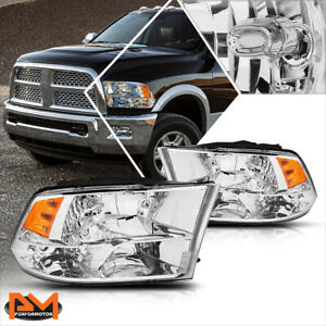 For 09 18 Dodge Ram Pickup Chrome Housing Quad Headlight Amber Side Corner Lamps