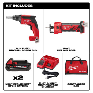 Cordless Drywall Screw Gun Compact Kit M18 Fuel 18 v Lithium ion W Cutout Tool