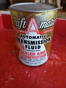 Vintage Shift A Matic ATF Oil 1 Quart Can Empty Cardboard Composite Antique