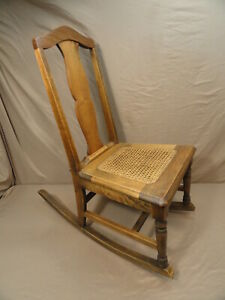 Antique Early 1900 S Hickory Chair Company Manufacturing Cane Bottom Rocking Vtg