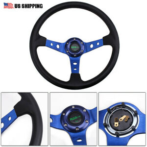 Universal 350mm 14 6 Bolt Racing Car Steering Wheel Horn Button 95mm Deep Dish