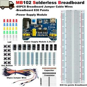 830 Tie Points Solderless Breadboard Protoboard Mb 102 Pcb Test Circuit Set Kit