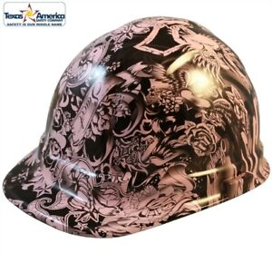 Tattoo Light Pink Hydro Dipped Cap Style Hard Hat With Ratchet Suspension