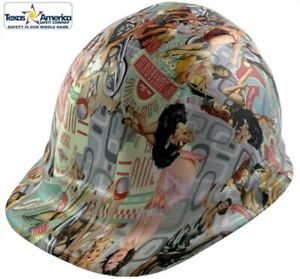 Vintage Pin Up Girls Hydro Dipped Cap Style Hard Hat With Ratchet Suspension