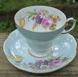 Baby Blue Eb Foley China Cup Saucer Teacup Set Eb Foley Made In England