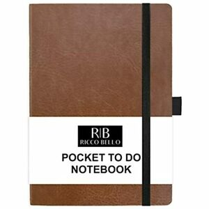Small Hardcover Pocket To Do List Notebook Elastic Band Closure Pen Loop 4 25