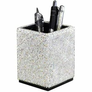 Crystal Pencil Pot Holder Box Bling Rhinestone Organizer Cosmetic Container