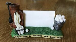 Golf Business Card Holder Ceramic A Good Game Preferred Over Great Riches