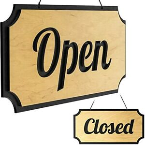Rustic Wooden Open Closed Sign Double sided Vintage Style And For Business 12