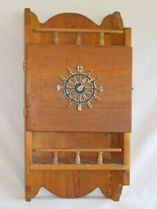 Vintage Wood Ship Wheel Clock Wall Shelf Rustic Cabinet Chest Marine Nautical