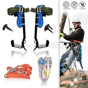 Tree Climbing Spike Set Safety Belt Rope Straps Safety Lanyard With Carabiner
