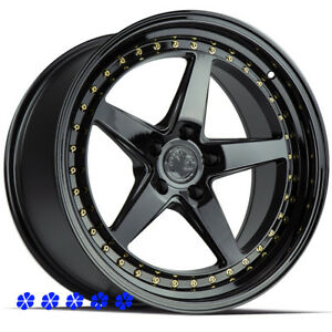 Aodhan Ds05 Wheels Black 18 X8 5 9 5 Staggered Rims 5x114 3 Fit 96 Nissan 300zx