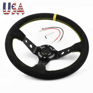 Racing Type Steering Wheel Universal 14 350mm Car Sport Suede Leather With Logo