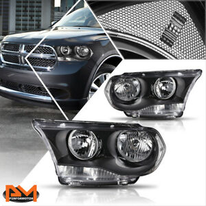 For 11 13 Dodge Durango Direct Replacement Headlight lamps Clear Corner Black