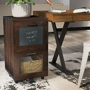 Vintage Mobile File Cabinet Industrial Style With Casters Walnut Finish 2