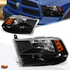 For 09 18 Dodge Ram Pickup Black Housing Amber Corner Quad Headlight lamp Set
